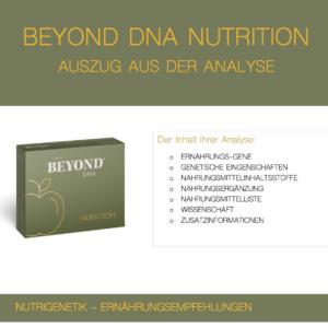 Beyond DNA Nutrition - Auszug aus der Analyse Nutrition