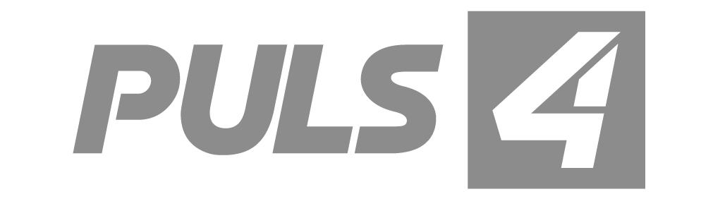 Logo des TV-Senders Puls4 in s/w