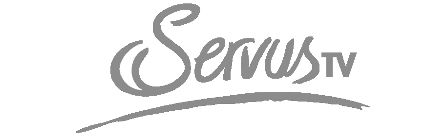 Logo des TV-Senders Servus in s/w